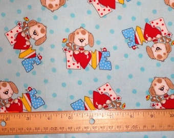 Blue Puppy Love/Hearts Flannel Fabric by the Yard