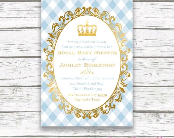 Prince Baby Shower Invitation, Royal Baby Shower, Gold Foil Crown Royal Baby Boy Invite, Light Blue Prince Printable Invitation