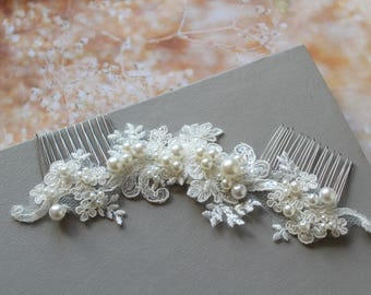 Bridal hair comb, Wedding hair comb, Lace Pearl Bridal Back Headpiece,  Lace hair comb, Wedding hair piece, UK
