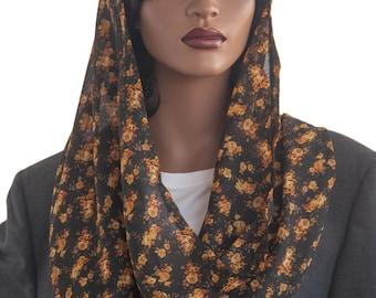 Kaatnu Veil™ Black Gold Orange Floral Veil Christian Veil Catholic Veil Modest Headcovering Chapel Scarf Prayer Veil Church Handmade