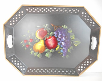 Nashco Tole Tray with Painted Fruit and Reticulated Rim and Handles