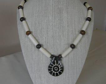 Sun Pendant Batik Bone Beaded Necklace
