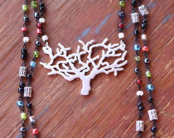 Tree of Life Matte Silver Pendant Black Three Strand Beaded Necklace
