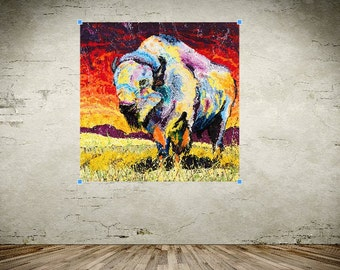 Native American art, White Buffalo art, great plains Buffalo, Bison wall art, wildlife art, metal prints,  Johno Prascak, Johnos Art Studio