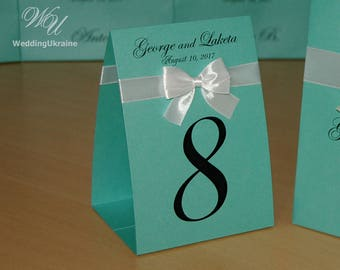 Mint Wedding table numbers with satin ribbon bow and your names - Tented Table Number Signs, Doubled-Sided Table Cards, Tented Table Numbers