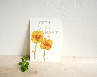 Postcard Open Your heart, nature inspiration on paper