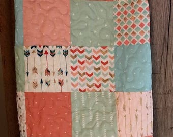 Handmade Baby Quilt, Toddler Quilt, Patchwork, Pastels, Arrows, Dots, Metallic Gold Accents- READY TO SHIP!
