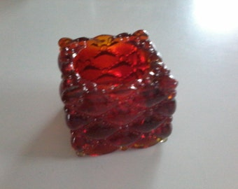 Vintage Amberina Pressed Glass Open Salt Dip or Candle Holder