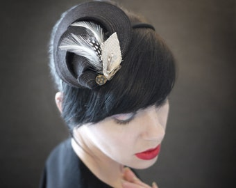 Black Felt Headband Fascinator with Feathers - Helix Series - Made to Order
