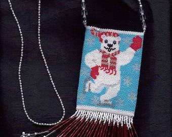 Moody Polar Bear Beaded Amulet Bag