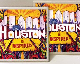 Houston Texas Graffiti Wall Set of 2 Ceramic Tile Coasters
