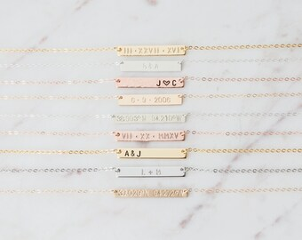 Personalized Bridesmaids Gifts, Wedding Jewelry Gifts, Custom Bar Necklace, Name Plate Necklace for Wedding, Bridesmaids Jewelry Necklace