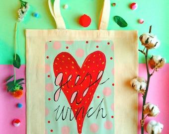 Geeze a Winch Illustrated Tote Bag, Scottish Slang Cotton Shopper Bag