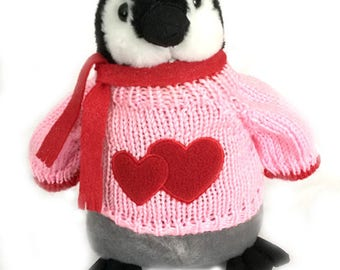 """Penguin Valentine with Hearts Sweater Plush (10"""" Tall)"""