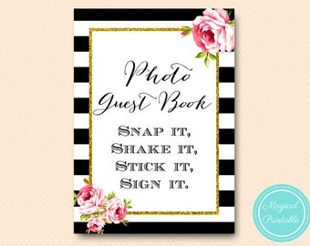 Black stripe and gold Photo Guest book Sign, Photo Guestbook, Guestbook sign, wedding guestbook, peonies Bridal Shower bs10, bs10b
