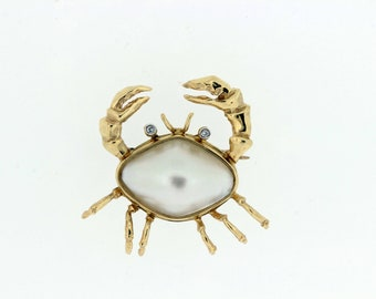 14K Crab Brooch