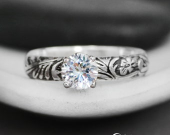 Floral White Sapphire Engagement Ring - Sterling Silver Sapphire Proposal Ring - Nature-Inspired Promise Ring - Flower Blossom Wedding Ring