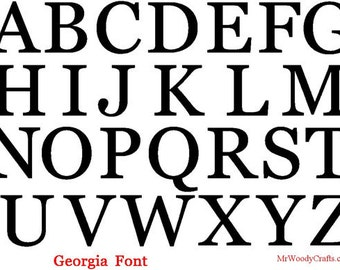 "8"" Unfinished Wooden Letters, Georgia font, 1/2"" thick, Ready to Paint, Made in USA 08GA50     -4"