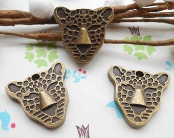 20 PCS 23mmx25mm antique bronze 3D leopard  head tiger head  Charm Pendant