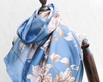 Blue Floral Scarf • 80s Vintage Scarf Women • Day Scarf • Long Neck Scarf • Silky Scarf • Vintage Birthday Gifts For Her • Scarves Women