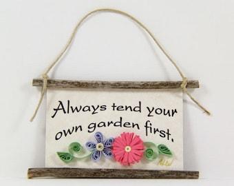 Paper Quilled Magnet 334 - Always Tend Your Own Garden First, 3D Paper Quilled Ornament, Gardener Gift, Pink Lavender Green Kitchen Decor