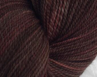 Handspun Yarn, Falkland Wool Yarn, 316 yds, 2 Ply DK Weight in Dutch Chocolate