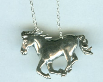 Sterling RUNNING HORSE Pendant AND Chain
