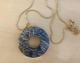 Black Line Jasper Wire Wrapped Necklace