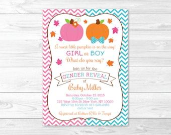 Pumpkin Gender Reveal Invitation / Pumpkin Gender Reveal Invite / Fall Pumpkin / Pink & Blue Gender Reveal / PRINTABLE A195