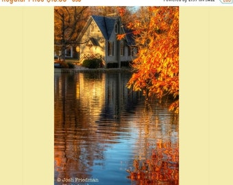 SALE 20% Off Autumn Landscape Photograph, Fall Foliage, Old Library and Reflection, Lake Afton, Yardley, Bucks County, Pennsylvania, Morning