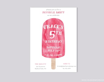 Popsicle Birthday Invitation, Pink Watercolor Ice Cream Social Girl, Popsicle Party, Summer Birthday Party, 1st 2nd 3rd 4th 5th 6th 7th