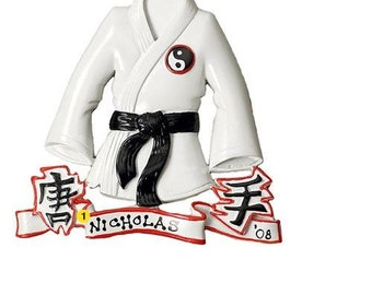 Personalized  Christmas Ornament  Karate, Kung-Fu, Tae Kwon Do, Judo Kids, Coach, Trainer Gift/ Gift Tag