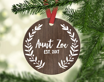 Aunt Pregnancy Announcement New Aunt Gift Christmas Gift for Sister Aunt Pregnancy Reveal Personalized Christmas Tree Ornaments Custom Cute
