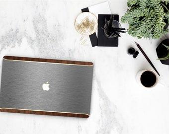 Macbook Pro 13 Case Macbook Air Case Laptop Case Macbook Case . Brushed Gray & Primavera Rustic Wood Edge with Gold Chrome Detail - Platinum