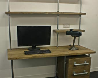 Office desk, Industrial Design, Reclaimed Scaffolding Board Desk, Shelf and 3 drawer Unit