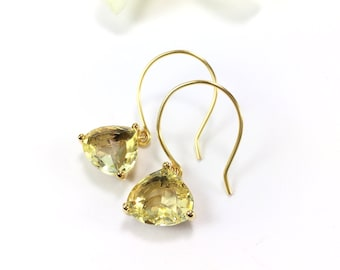 Citrine Earrings Gold Earrings Yellow Earrings Citrine Dangle Drop Earrings Bridesmaid Earrings Wedding Earrings November Birthstone Gift
