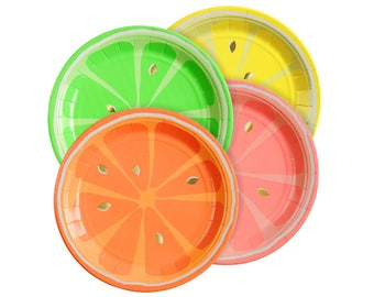 "Gold Foil Neon Citrus Paper Plates -Set of 8 Meri Meri 7"" Diameter Fruit Plates in 4 Neon Colors (Orange, Grapefruit, Lemon & Lime Designs)"