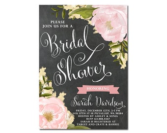 Bridal Shower Invitation, Bridal Brunch Invitation, Bridal Shower Brunch, Chalkboard Bridal Shower Invite