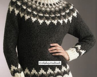 Ladies Sweater, Fair Isle, Plus Sizes, Knitting Pattern.  PDF Instant Download.