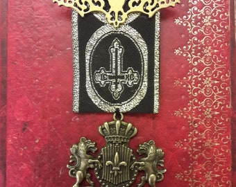 Steampunk Gothic Medal Brooch Gold Bat and Bronze Shield Crest  Brocade Ribbon