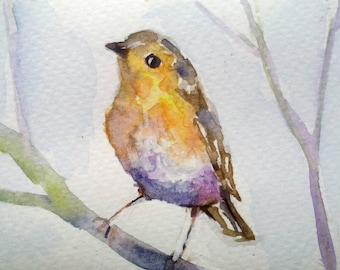 original watercolor painting ACEO robin bird 2.5x3.5 inches