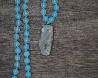 Sea Blue Agate Mala Necklace