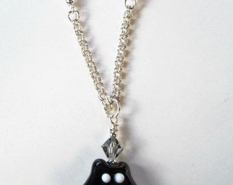 Black Cat Crystal and  Lampwork Bead Silver Tone Necklace - House Panther