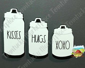 Rae Dunn Canister MAGNETS, Laser Cut and Engraved, Kisses, Hugs, XOXO, Valentine, Valentines Day