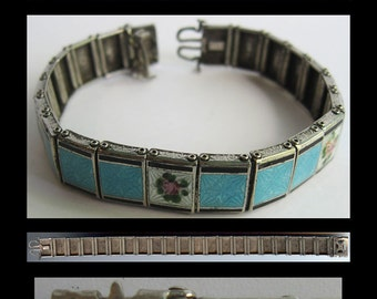 SIGNED vintage sterling silver light blue enamel pink rose LINK BRACELET