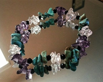 Healing Bracelet - Turquoise, Rose Quartz & Amethyst