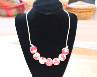 Pink white necklace, Eco Friendly handmade clay beads