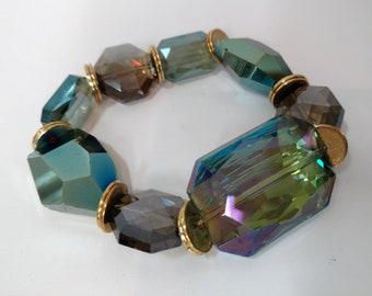 Olivine Vitral & Smokey Quartz Crystal Stretch Bracelet