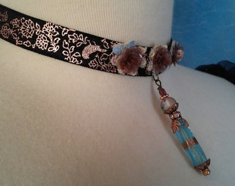 Vintage Marie Antoinette Style Victorian Choker Bridal Choker Womens Glass Bead Dangle Pendant Choker Necklace Jewelry