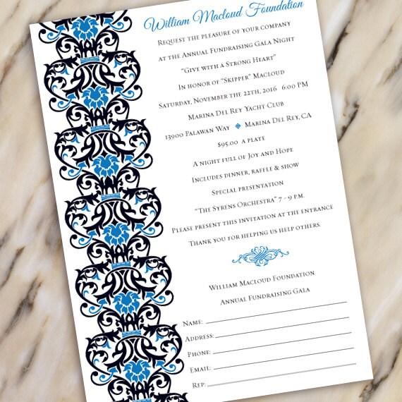 wedding invitations, fundraising gala invitation, black tie event, fundraiser invitation, silent auction invitation, IN503
